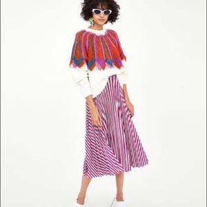 NWT Zara TRF Pleated Pink Striped Midi Skirt S